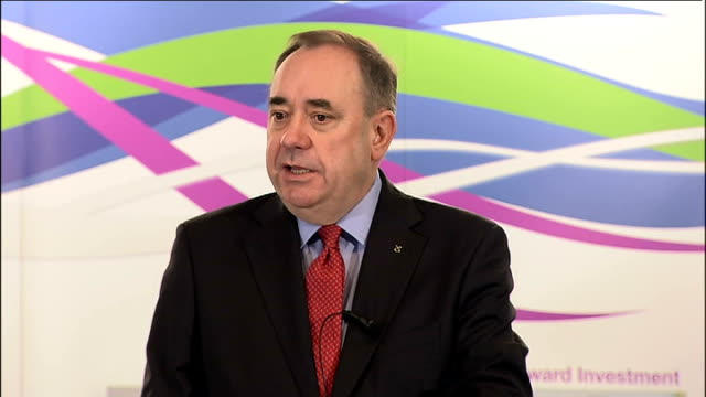 scottish independence: alex salmond speech on currency union; scotland: aberdeen: int alex salmond msp speech sot - **speech transcript: please check... - aberdeen scotland stock videos & royalty-free footage
