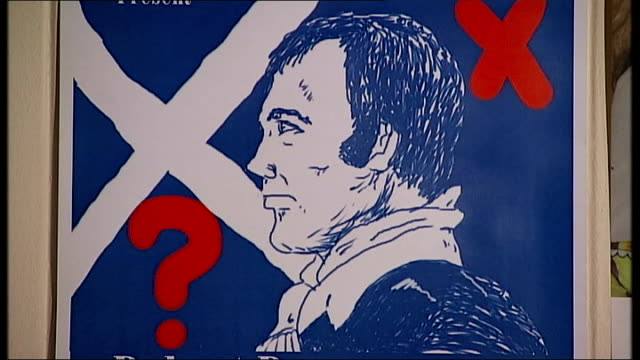 scottish independence: artists views at the edinburgh festival; ext poster for 'robert burns votes for scotland' with gill bowman and mark stephen - gill stock videos & royalty-free footage