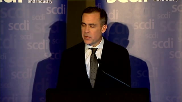 scottish independence: mark carney speech; carney speech sot - pros and cons of currency unions - how to mitigate conditions - issue of oil - pros and cons stock videos & royalty-free footage