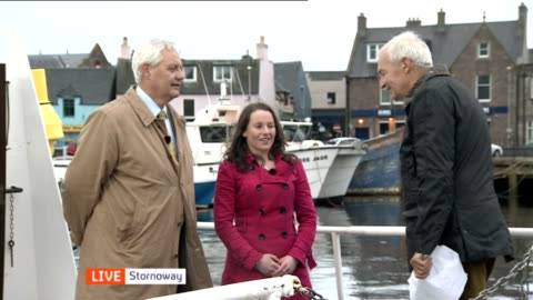 scottish independence: outer hebrides; scotland: outer hebrides: isle of lewis: stornoway: ext eleanor sinclair and murdo maclennan live interviews... - hebrides stock videos & royalty-free footage