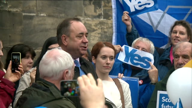 alex salmond visits linlithgow salmond amongst crowd of supporters / salmond addressing crowd sot - linlithgow stock videos and b-roll footage