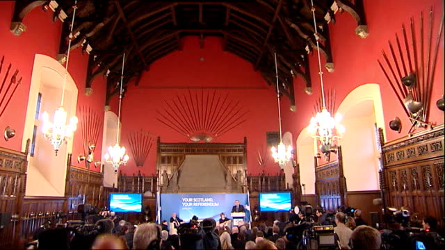 debate over wording and timing of referendum scotland edinburgh castle photography ** high angle alex salmond msp on to podium at press conference... - suit of armour stock videos and b-roll footage