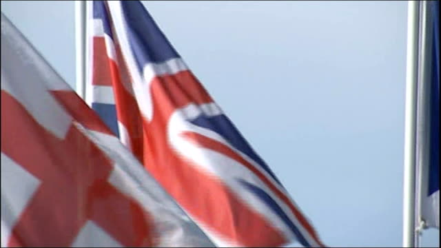 scottish independence referendum: flags; scotland: ext union jack flag on hillside / various shots of union jack, st george's flag and scottish... - scottish flag stock videos & royalty-free footage