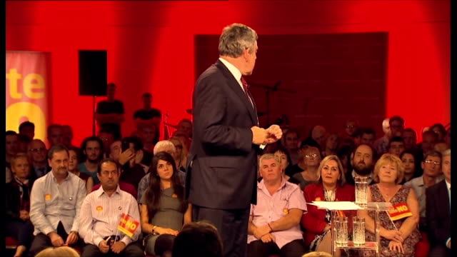 labour leaders press case to keep uk together scotland glasgow throughout*** ed miliband mp and gordon brown mp into scottish labour rally miliband... - scottish national party stock videos & royalty-free footage