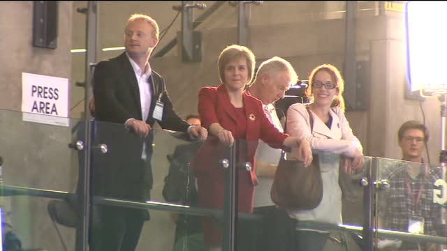 nicola sturgeon attends glasgow result scotland glasgow int various shots of nicola sturgeon msp on balcony cheering heard as results come in sot /... - 2014 scottish independence referendum stock videos & royalty-free footage