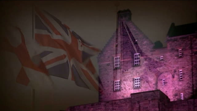 scottish independence referendum: no campaign wins / alex salmond resigns; scotland: edinburgh: ext at night / day sequence edinburgh castle... - scottish flag stock videos & royalty-free footage