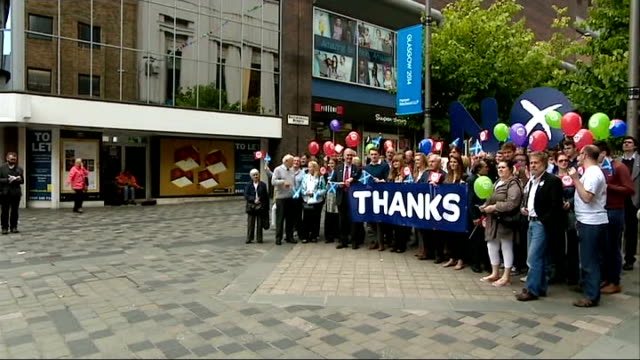 scottish independence referendum: one month to go; glasgow: members of 'better together' campaign posing for photocall with 'no thanks' placards and... - douglas alexander stock videos & royalty-free footage