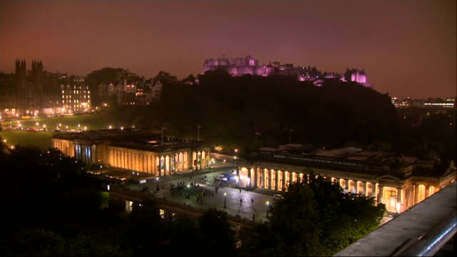 polling day edinburgh castle night gvs scotland edinburgh various long shots of illuminated edinburgh castle on mist night with edinburgh scottish... - neo classical stock videos & royalty-free footage