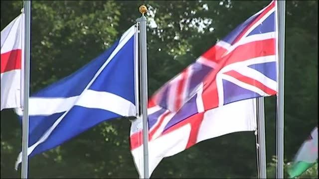Scottish independence would result in 'economic boost' claims SNP report R18091423 / EXT Scottish English Welsh and Union Jack flags flying alongside...