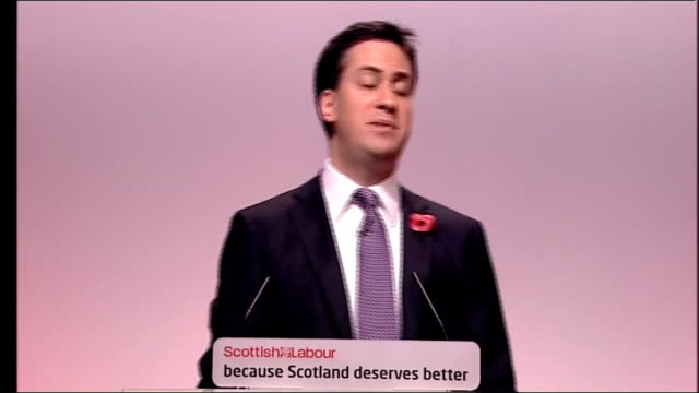 scottish labour party conference: ed miliband speech; ed miliband speech continued sot - never has a party promised so much and delivered so little.... - economy class stock videos & royalty-free footage