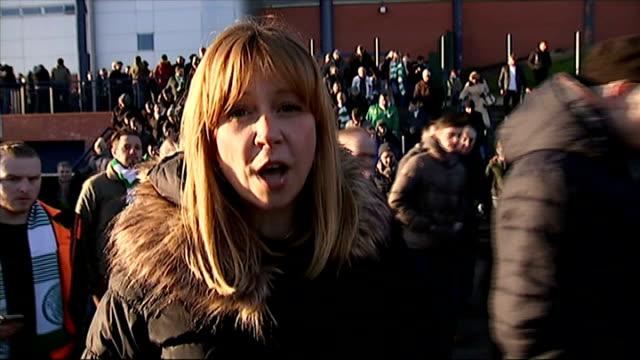 stockvideo's en b-roll-footage met celtic beat rangers in semifinal reporter to camera sot - halve finale