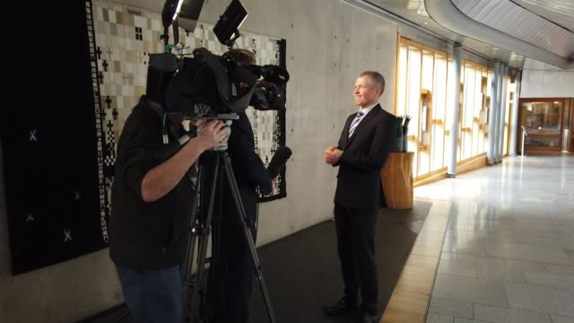 scottish liberal democrat leader willie rennie is interviewed in the lobby of the scottish parliament after the announcement that former liberal... - cyril smith politician stock videos & royalty-free footage