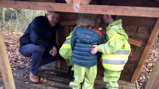 scottish liberal democrat leader willie rennie squeezes inside a playhouse on a visit to lauriston nursery in dunfermline scotland - playhouse stock videos and b-roll footage
