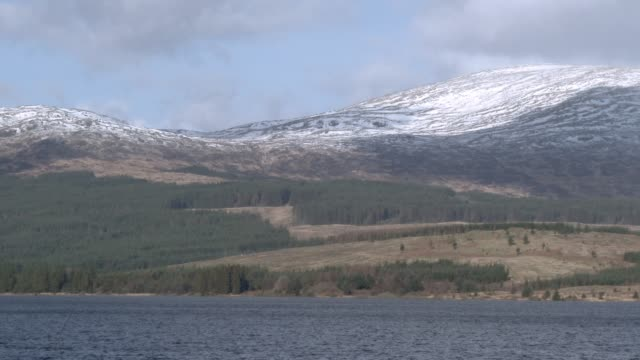 Scottish loch in winter with snow on the tops of hills