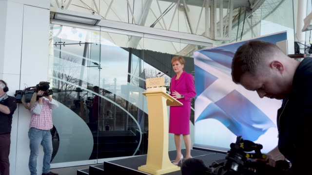 scottish national party leader and scotland's first minister nicola sturgeon addresses media following snp election success including taking the seat... - scottish national party stock videos & royalty-free footage