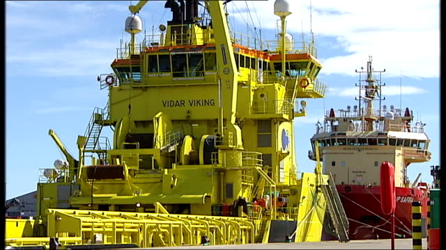 scottish national party plan to hold referendum on independence from uk aberdeen ext general view of docks vidar viking supply ship general views of... - scottish national party stock videos & royalty-free footage