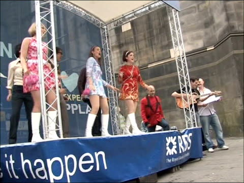 scottish national party plan to hold referendum on independence from uk street theatre with dancing and singing women - scottish national party stock videos & royalty-free footage