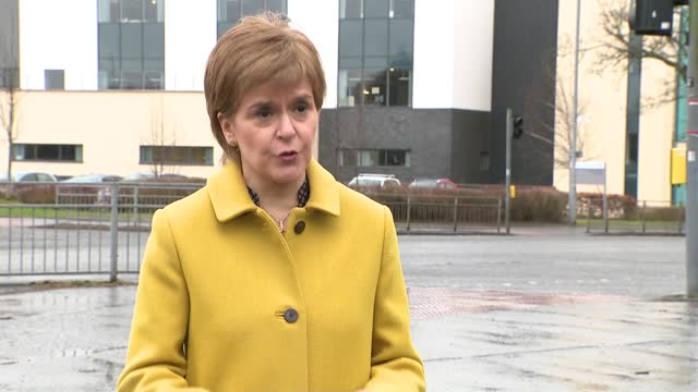scottish nhs workers offered 4 per cent pay rise; scotland: ext / raining nicola sturgeon along and waving at group of young people sturgeon up steps... - disrespect stock videos & royalty-free footage