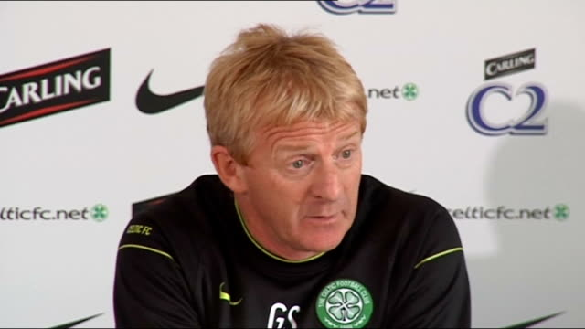celtic press conference scotland glasgow int gordon strachan press conference sot on international break / training sessions squad performances doing... - ゴードン ストラハン点の映像素材/bロール