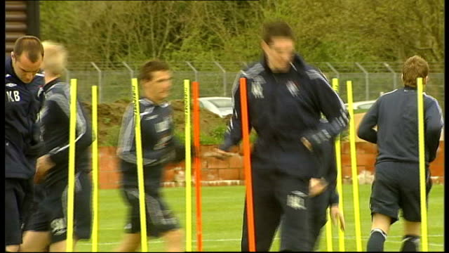 scottish premier league: glasgow rangers training; scotland: glasgow: ext glasgow rangers players training including christian dailly, lee mcculloch,... - ally mccoist stock videos & royalty-free footage
