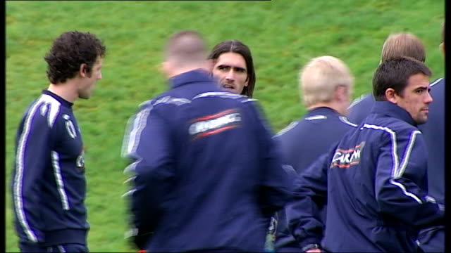 scottish premier league: rangers fc training; scotland: glasgow: ext general views and close ups of various rangers fc players in training session... - ally mccoist stock videos & royalty-free footage
