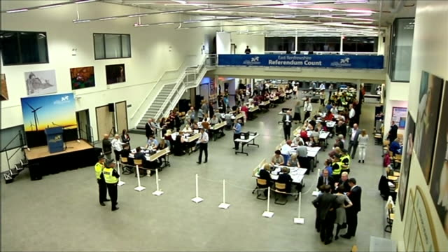 ITV News Special Clean Feed 0200 0300 Edinburgh Ingliston Wide shot counting hall / East Renfrewshire GVs high angle counting room shot/ South...