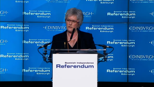 itv news special clean feed 2145 2300 2200 edinburgh sue bruce speaking at podium to announce start of edinburgh count sot ballot boxes being emptied... - bruce stock videos & royalty-free footage