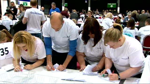 vídeos y material grabado en eventos de stock de itv news special clean feed 2300 0000 scotland edinburgh ingliston royal highland centre int people counting votes at tables in counting hall... - contar
