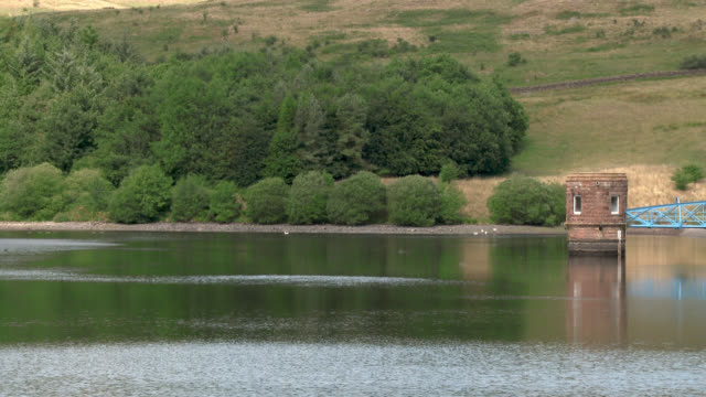 scottish reservoir after a prolonged spell of dry weather - johnfscott stock videos & royalty-free footage