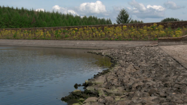 scottish reservoir after a prolonged spell of dry weather - reservoir stock videos & royalty-free footage