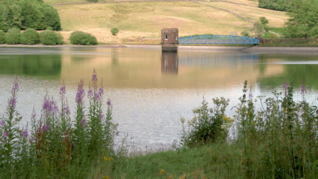 scottish reservoir after a prolonged spell of dry weather - reservoir stock videos and b-roll footage
