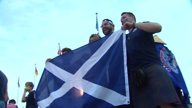 scottish rugby fans in kobe for scotland's world cup match against samoa - pacific islands stock videos & royalty-free footage