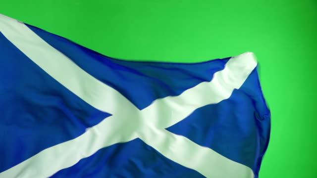 Scottish Scotland Flag on green screen, Real video, not CGI - Super Slow Motion
