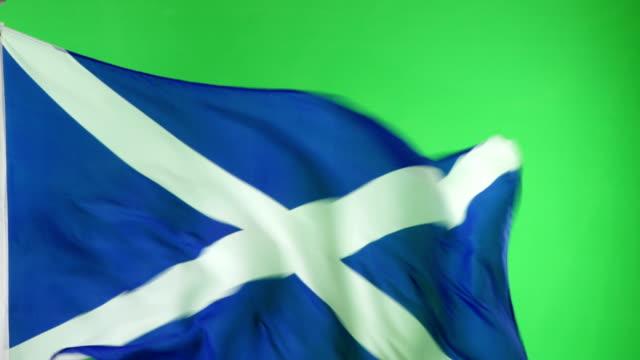 4K: Scottish Scotland Flag on green screen, Real video, not CGI