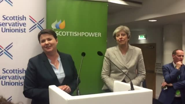 scottish tory leader ruth davidson leads a chorus of happy birthday for prime minister theresa may at the party conference in manchester the pm... - theresa may stock-videos und b-roll-filmmaterial