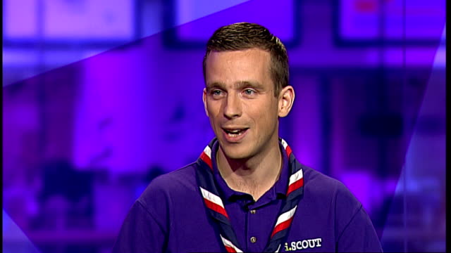 scout movement set to welcome atheists england london gir int matt mills live studio interview sot - scout association stock videos and b-roll footage