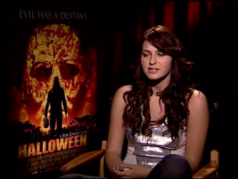 scout taylor compton discusses being a fan of rob zombie and differences between being on set and the stage at the 'halloween' press junket at the... - rob zombie stock videos & royalty-free footage