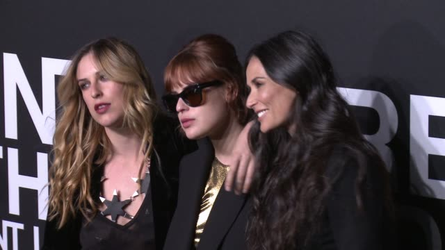 Scout Willis Demi Moore and Tallulah Willis at Saint Laurent Event at Hollywood Palladium on February 10 2016 in Los Angeles California