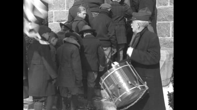 scouts with flags enter valley forge's washington memorial chapel as dr. t. asber hess drums / a large group of boys with american and assorted flags... - youth organisation stock videos & royalty-free footage