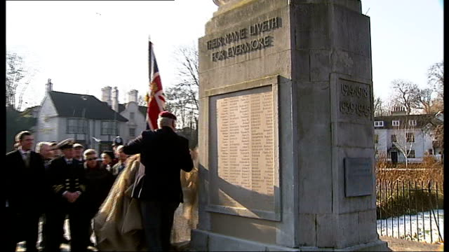 scrap metal dealer donates money to replace stolen war memorial plaques; england: surrey: carshalton: ext ware veteran unveiling restored war... - 飾り板点の映像素材/bロール