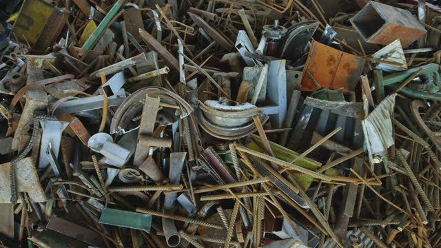 cs scrap metal in a recycling facility - crane shot stock videos & royalty-free footage