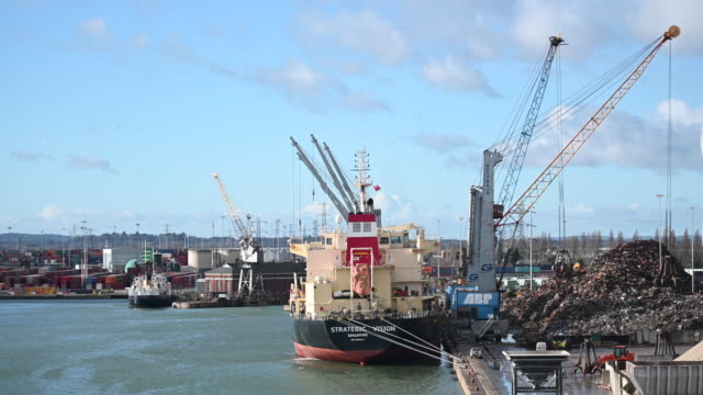 scrap metal is loaded on to the strategic vision ship of singapore at southampton port on february 10 2019 in southampton england the port of... - southampton england stock videos and b-roll footage