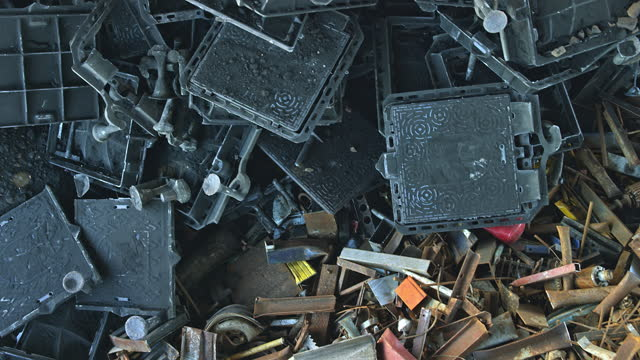 cs scrap metal piled up before recycling - crane shot stock videos & royalty-free footage