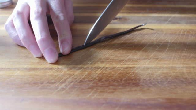 scraping a vanilla bean
