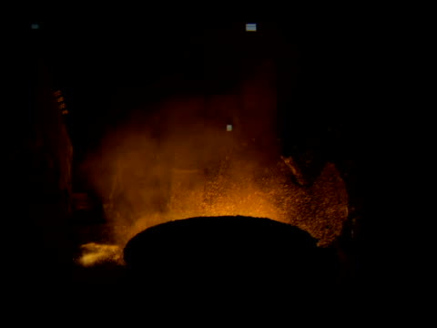 scraps of metal are thrown into furnace creating sparks and smoke - power equipment stock videos & royalty-free footage