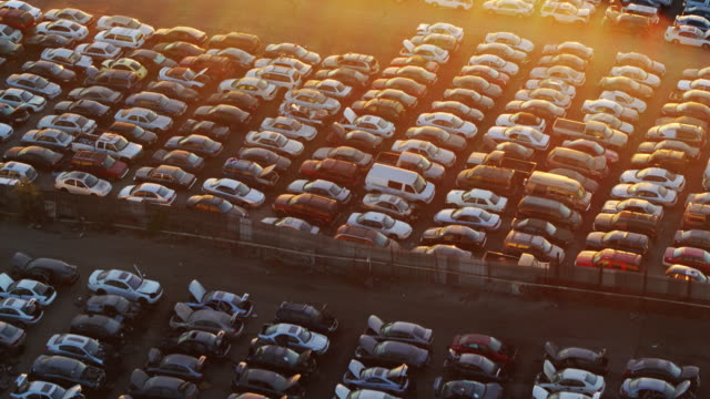scrapyard grid - drone shot - automobile industry stock videos & royalty-free footage