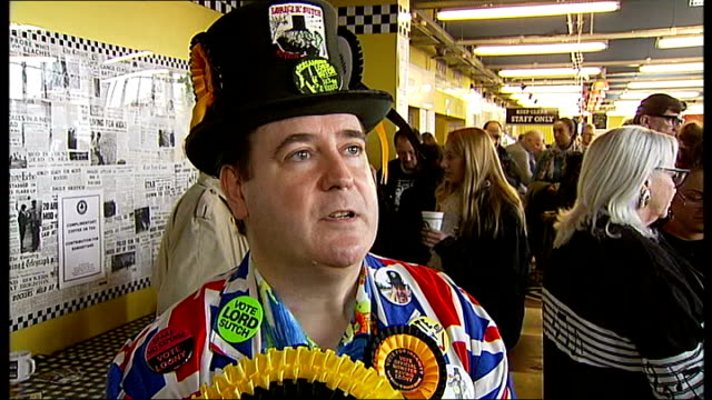 'screaming lord sutch' blue plaque unveiled at ace corner england london stonebridge ace corner / ace cafe int 'lord toby jug' interview sot - ace stock videos and b-roll footage