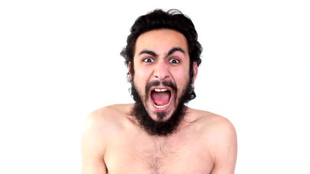 screaming naked man against white background - mouth open stock videos and b-roll footage