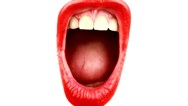 screaming woman's mouth - plain background stock videos & royalty-free footage