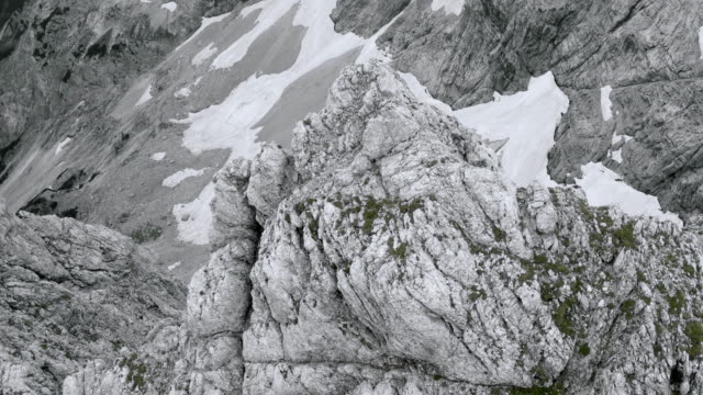 aerial scree slope below a rugged mountain top - geology stock videos & royalty-free footage